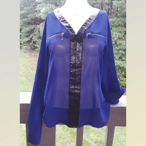 STUNING Blue Blouse Small Collar leather  2 zipper